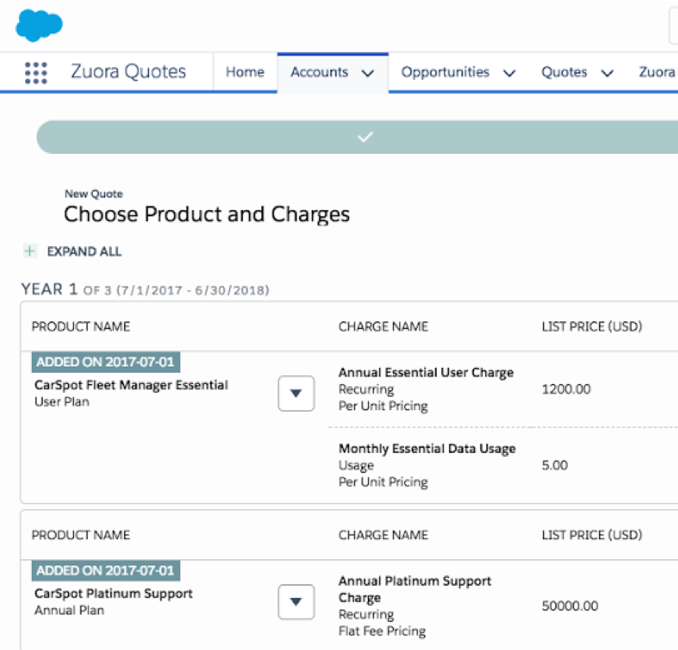 Screen shot of Zuora CPQ product showing accounts and charges