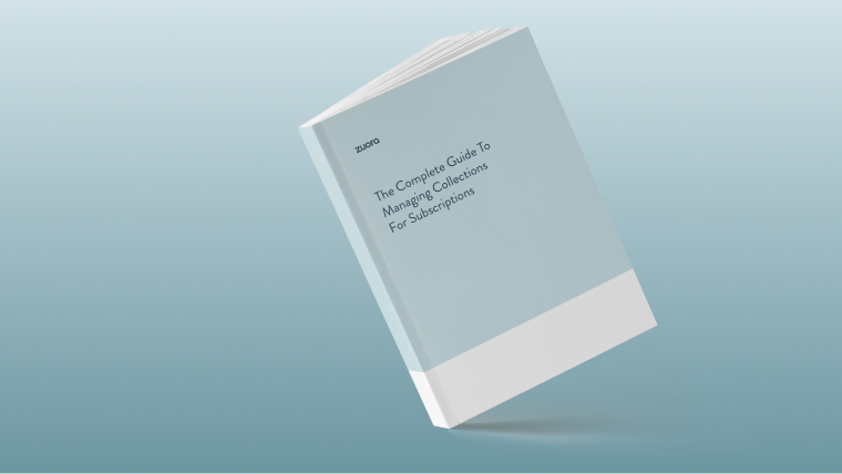 Book on blue background on The Complete Guide to Managing Collections for Subscriptions